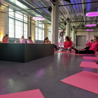 Pink Ribbon yoga session - our group